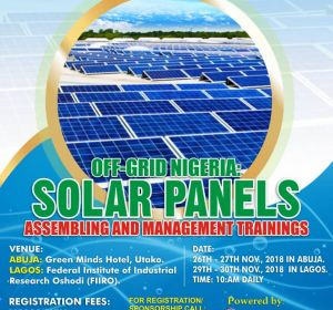 OFF GRID NIGERIA : SOLAR PANEL ASSEMBLY MANAGEMENT AND TRAINING (2018 Edition)