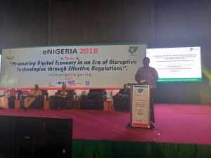 e-NIGERIA 2018: DR (Mrs) Wunmi Hassan Giving A Presentation On Promoting Digital Opportunities Among Women And Youth Populations